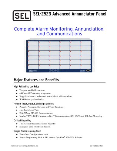 SEL-2523 Advanced Annunciator Panel