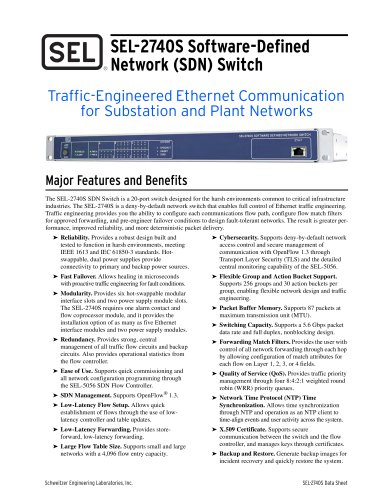 SEL-2740S Software-Defined Network (SDN) Switch
