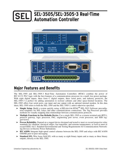 SEL-3505/SEL-3505-3 Real-Time Automation Controller (RTAC)