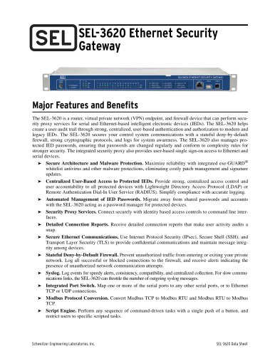 SEL-3620 Ethernet Security Gateway