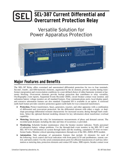 SEL-387 Current Differential and Overcurrent Protection Relay