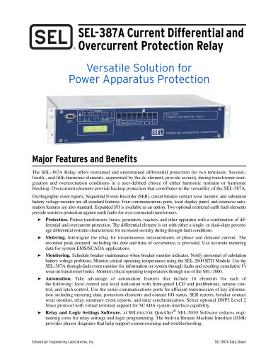 SEL-387A Current Differential and Overcurrent Protection Relay