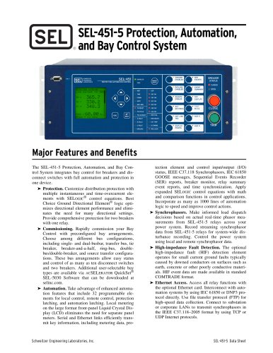SEL-451-5 Protection, Automation, and Bay Control System