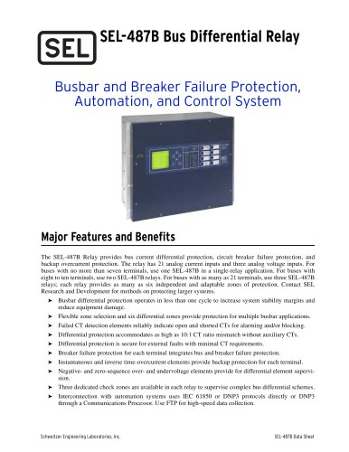 SEL-487B Bus Differential and Breaker Failure Relay