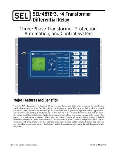SEL-487E-3, -4 Transformer Differential Relay