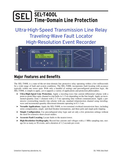 SEL-T400L Time-Domain Line Protection