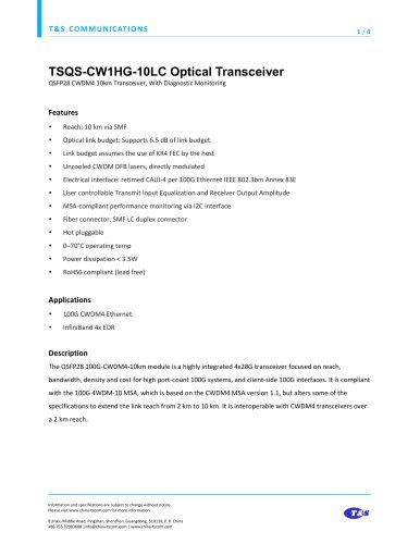 TSQS-CW1HG-10LC Optical Transceiver
