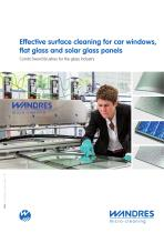 Effective surface cleaning for car windows, flat glass and solar glass panels (glass production idustry)