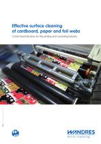 Effective surface cleaning of cardboard, paper and foil webs (printing and converting industry)
