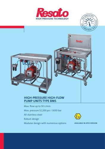 Mobile high pressure high flow testunits