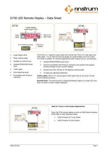 D730 LED Remote Display