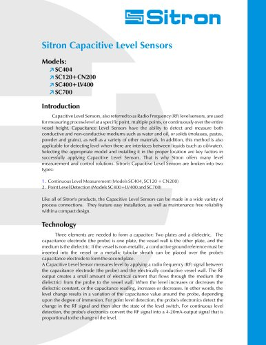 Sitron's Line Of Capacitive Level Sensors and Switches
