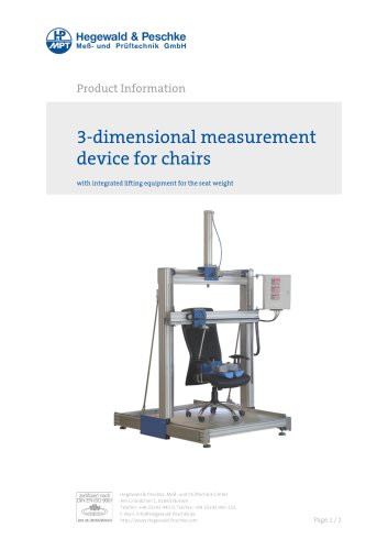 Furniture testing - Single test rigs - 3D-measurement device for chairs