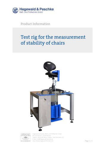Furniture testing - Single test rigs - Stability of chairs