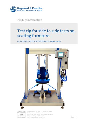 Furniture testing - Test rig for side-to-side tests on seat furniture