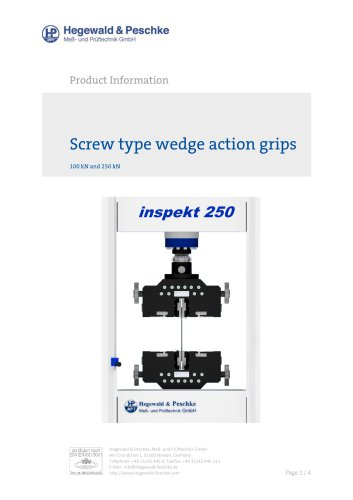 Screw type wedge action grips 100kN and 250kN