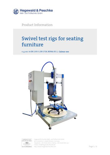 Swivel test rig for seating furniture