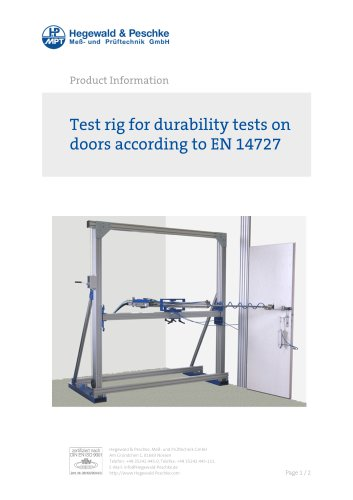 test rig for durability tests on doors