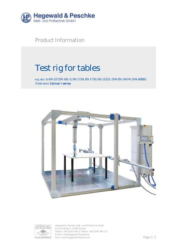 Test rig for tables