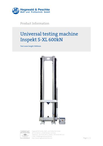 Universal testing machine Inspekt S-XL 600kN