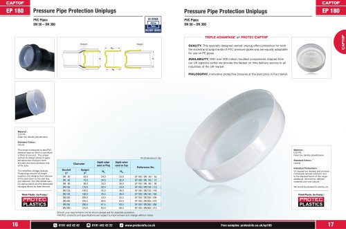 EP 180 Pressure Pipe Uniplugs