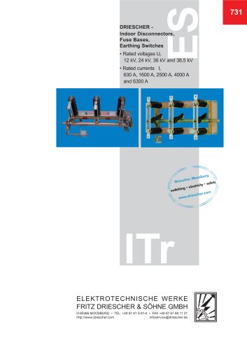 Disconnectors, Earthing switches, Fuse bases