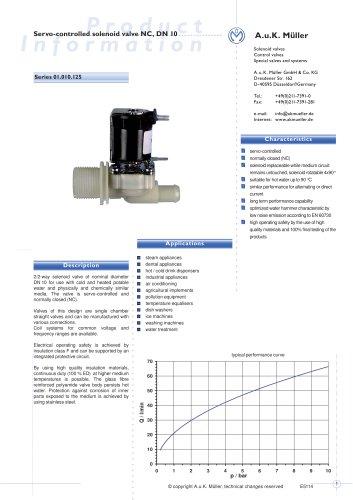 01.010.125 Servo-controlled solenoid valve NC, DN 10