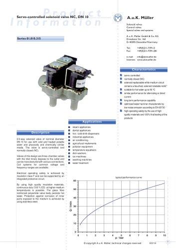 01.010.315 Servo-controlled solenoid valve NC, DN 10