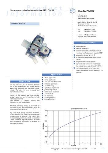 01.010.325 Servo-controlled solenoid valve NC, DN 10