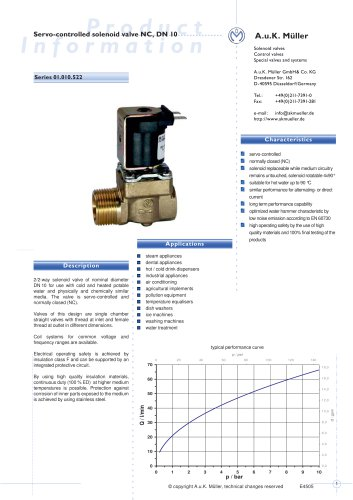 01.010.522 Servo-controlled solenoid valve NC, DN 10