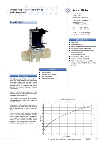 01.013.127 Direct acting solenoid valve, DN 13 media separated