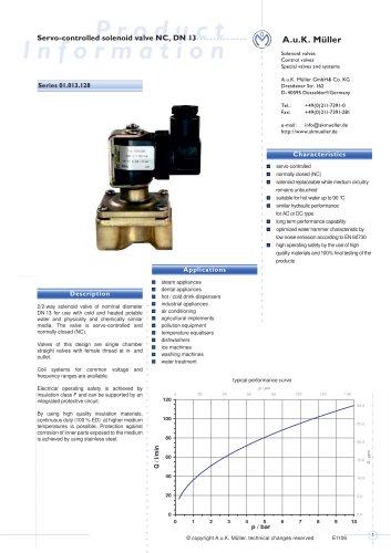 01.013.128 Servo-controlled solenoid valve NC, DN 13