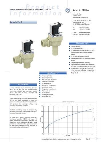01.017.115 Servo-controlled solenoid valve NC, DN 17