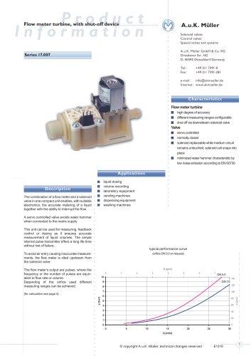 17.007.- Flow meter turbine, with shut-off device