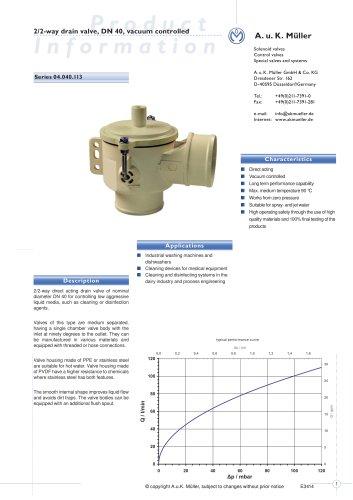 2/2-way drain valve, DN 40, vacuum controlled
