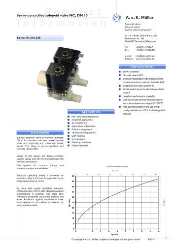 Series 01.010.225 Servo-controlled solenoid Valve NC, DN 10
