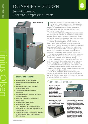 DG SERIES – 2000kN Semi-Automatic Concrete Compression Testers from Tinius Olsen
