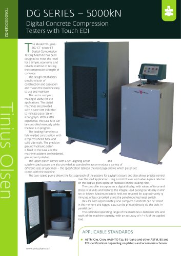 DG SERIES – 5000kN Digital Concrete Compression Testers with Touch EDI from Tinius Olsen