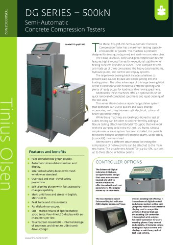 DG SERIES – 500kN Semi-Automatic Concrete Compression Testers from Tinius Olsen