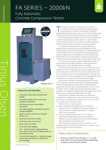 FA SERIES – 2000kN Fully Automatic Concrete Compression Testers from Tinius Olsen