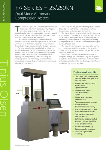 FA SERIES – 25/250kN Dual Mode Automatic Compression Testers from Tinius Olsen