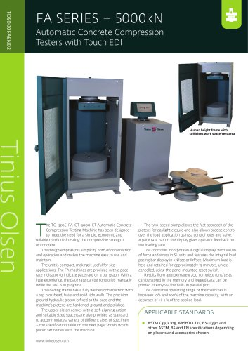 FA SERIES – 5000kN Automatic Concrete Compression Testers with Touch EDI from Tinius Olsen
