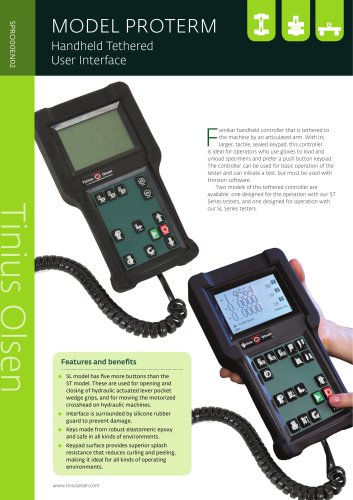 MODEL PROTERM Handheld Tethered User Interface from Tinius Olsen