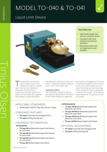 MODEL TO-040 & TO-041 Liquid Limit Device from Tinius Olsen