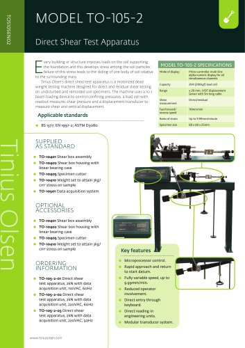 MODEL TO-105-2 Direct Shear Test Apparatus from Tinius Olsen