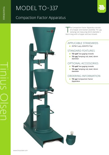 MODEL TO-337 Compaction Factor Apparatus from Tinius Olsen