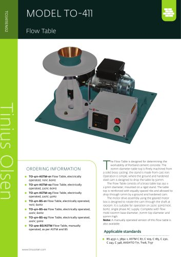 MODEL TO-411 Flow Table from Tinius Olsen