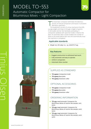 MODEL TO-553 Automatic Compactor for Bituminous Mixes – Light Compaction from Tinius Olsen