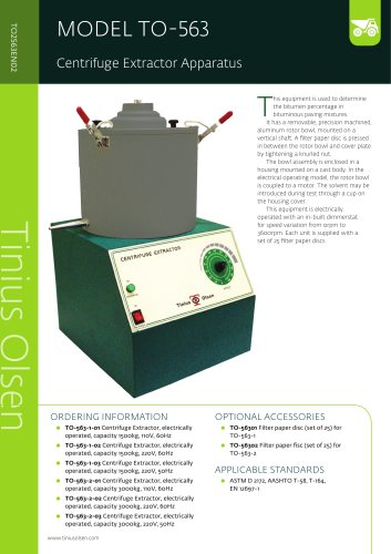 MODEL TO-563 Centrifuge Extractor Apparatus from Tinius Olsen