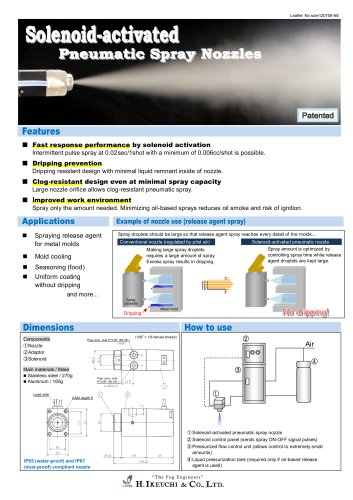 Solenoid-activated pneumatic spray nozzles